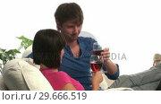 Купить «A Couple Enjoying a Glass of Wine», видеоролик № 29666519, снято 1 марта 2008 г. (c) Wavebreak Media / Фотобанк Лори