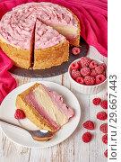 Купить «white chocolate and raspberry cheesecake, close up», фото № 29667443, снято 30 декабря 2018 г. (c) Oksana Zh / Фотобанк Лори