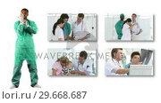 Купить «Ethnic surgeon with screens showing medical works», видеоролик № 29668687, снято 11 декабря 2019 г. (c) Wavebreak Media / Фотобанк Лори