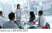Купить «Panorama of businesswoman giving a presentation to her colleagues», видеоролик № 29670551, снято 1 октября 2009 г. (c) Wavebreak Media / Фотобанк Лори