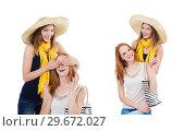 Купить «Women on holiday isolated on white», фото № 29672027, снято 30 августа 2013 г. (c) Elnur / Фотобанк Лори