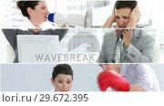 Купить «Footage of stress in the workplace», видеоролик № 29672395, снято 21 августа 2019 г. (c) Wavebreak Media / Фотобанк Лори