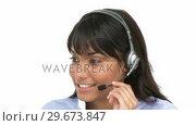 Купить «Charming businesswoman using headset», видеоролик № 29673847, снято 17 февраля 2019 г. (c) Wavebreak Media / Фотобанк Лори
