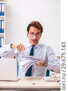 Купить «Businessman disgusted with cockroaches in the office», фото № 29675143, снято 25 сентября 2018 г. (c) Elnur / Фотобанк Лори