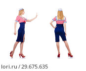 Купить «Woman in costume pushing virtual obstacle», фото № 29675635, снято 16 января 2013 г. (c) Elnur / Фотобанк Лори