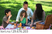 Купить «Happy family feasting at a picnic sitting on a tablecloth », видеоролик № 29676203, снято 10 ноября 2010 г. (c) Wavebreak Media / Фотобанк Лори