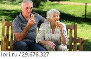 Senior woman and man enjoying an icecream on a bench. Стоковое видео, агентство Wavebreak Media / Фотобанк Лори