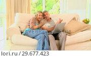 Купить «Couple enjoying pictures on laptop on sofa», видеоролик № 29677423, снято 6 ноября 2010 г. (c) Wavebreak Media / Фотобанк Лори