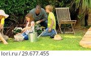 Купить «Family doing some gardening on lawn», видеоролик № 29677455, снято 6 ноября 2010 г. (c) Wavebreak Media / Фотобанк Лори