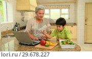 Купить «Woman giving her grandson a cookery lesson », видеоролик № 29678227, снято 5 ноября 2010 г. (c) Wavebreak Media / Фотобанк Лори