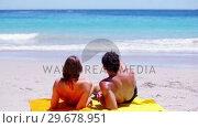 Купить «Couple looking at the ocean», видеоролик № 29678951, снято 15 ноября 2011 г. (c) Wavebreak Media / Фотобанк Лори