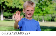 Купить «Boy waving towards the camera while smiling», видеоролик № 29680227, снято 17 ноября 2011 г. (c) Wavebreak Media / Фотобанк Лори