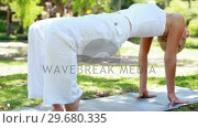 Купить «A woman holding a yoga position in the park», видеоролик № 29680335, снято 17 ноября 2011 г. (c) Wavebreak Media / Фотобанк Лори