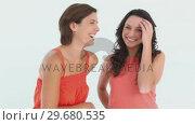 Купить «Two girls laughing », видеоролик № 29680535, снято 11 ноября 2011 г. (c) Wavebreak Media / Фотобанк Лори