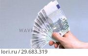 Купить «Hand waving hundred euro notes», видеоролик № 29683319, снято 30 мая 2012 г. (c) Wavebreak Media / Фотобанк Лори
