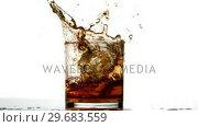 Купить «Ice cube falling in whiskey tumbler on white background», видеоролик № 29683559, снято 21 ноября 2012 г. (c) Wavebreak Media / Фотобанк Лори