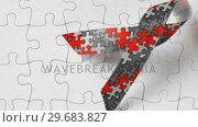 Купить «Autism ribbon falling onto jigsaw surface in selective black and white», видеоролик № 29683827, снято 16 января 2013 г. (c) Wavebreak Media / Фотобанк Лори