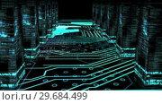 Купить «Circuit board corridor with data columns animation», видеоролик № 29684499, снято 23 апреля 2013 г. (c) Wavebreak Media / Фотобанк Лори