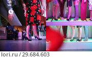 Купить «4 in 1 - fashion skinny models walking on the stage», видеоролик № 29684603, снято 23 января 2019 г. (c) Константин Шишкин / Фотобанк Лори