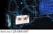 Купить «Futuristic animation showing screens with computing scenes», видеоролик № 29684647, снято 3 мая 2013 г. (c) Wavebreak Media / Фотобанк Лори