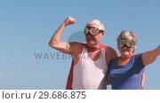 Купить «Fancy-dress mature couple raising arm», видеоролик № 29686875, снято 12 ноября 2015 г. (c) Wavebreak Media / Фотобанк Лори