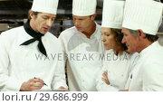 Купить «Team of chef preparing the service», видеоролик № 29686999, снято 23 ноября 2015 г. (c) Wavebreak Media / Фотобанк Лори