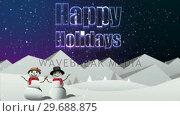 Купить «Illustration of christmas greeting with happy holidays message», видеоролик № 29688875, снято 23 сентября 2016 г. (c) Wavebreak Media / Фотобанк Лори