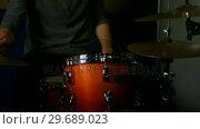 Купить «Man playing a drums», видеоролик № 29689023, снято 31 августа 2016 г. (c) Wavebreak Media / Фотобанк Лори