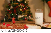 Купить «Gingerbread cookies with a glass of milk on wooden table», видеоролик № 29690015, снято 31 августа 2016 г. (c) Wavebreak Media / Фотобанк Лори