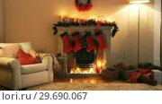 Купить «Fireplace decorate with christmas decor and ornaments», видеоролик № 29690067, снято 31 августа 2016 г. (c) Wavebreak Media / Фотобанк Лори