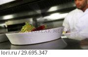 Купить «Close-up of chef keeping appetizer plate ready on the order station», видеоролик № 29695347, снято 21 ноября 2016 г. (c) Wavebreak Media / Фотобанк Лори