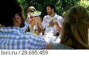 Купить «Group of friends enjoying meal at outdoor lunch», видеоролик № 29695459, снято 21 ноября 2016 г. (c) Wavebreak Media / Фотобанк Лори