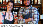Купить «Portrait of barmaid and barman standing with arms crossed at bar counter», видеоролик № 29695771, снято 14 ноября 2016 г. (c) Wavebreak Media / Фотобанк Лори