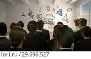 Купить «Business people looking at digital screen showing cloud computing», видеоролик № 29696527, снято 5 июля 2016 г. (c) Wavebreak Media / Фотобанк Лори