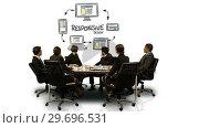 Купить «Businesspeople looking at futuristic screen showing responsive symbol», видеоролик № 29696531, снято 5 июля 2016 г. (c) Wavebreak Media / Фотобанк Лори