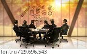 Купить «Businesspeople looking at futuristic screen showing start up symbol», видеоролик № 29696543, снято 5 июля 2016 г. (c) Wavebreak Media / Фотобанк Лори
