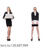 Купить «Businesswoman with laptop isolated on white», фото № 29697999, снято 19 января 2019 г. (c) Elnur / Фотобанк Лори