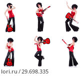 Купить «Woman in afro wig playing guitar», фото № 29698335, снято 19 июля 2019 г. (c) Elnur / Фотобанк Лори