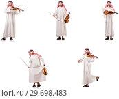 Купить «Arab man playing violin isolated on white», фото № 29698483, снято 19 января 2019 г. (c) Elnur / Фотобанк Лори