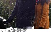 Купить «Couple charging the electric car on a snowy day», видеоролик № 29699051, снято 30 ноября 2016 г. (c) Wavebreak Media / Фотобанк Лори