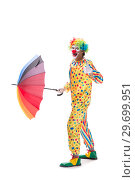 Купить «Funny clown isolated on white background», фото № 29699951, снято 28 сентября 2018 г. (c) Elnur / Фотобанк Лори