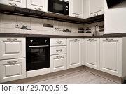 Купить «Beige kitchen with oven and a microwave», фото № 29700515, снято 29 октября 2018 г. (c) Володина Ольга / Фотобанк Лори