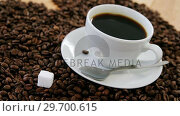 Купить «Coffee with roasted coffee beans», видеоролик № 29700615, снято 6 октября 2016 г. (c) Wavebreak Media / Фотобанк Лори