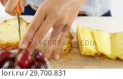 Купить «Woman cutting pineapple on chopping board», видеоролик № 29700831, снято 19 декабря 2016 г. (c) Wavebreak Media / Фотобанк Лори