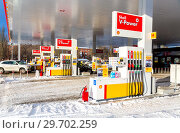 Filling the column with different fuels at the gas station Shell (2018 год). Редакционное фото, фотограф FotograFF / Фотобанк Лори