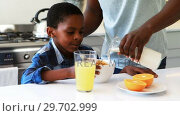 Купить «Father pouring milk into sons cereal in kitchen», видеоролик № 29702999, снято 24 марта 2017 г. (c) Wavebreak Media / Фотобанк Лори