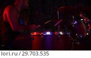 Купить «Drummer playing on drum set 4k», видеоролик № 29703535, снято 7 марта 2017 г. (c) Wavebreak Media / Фотобанк Лори