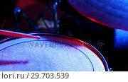Купить «Drummer playing on drum set 4k», видеоролик № 29703539, снято 7 марта 2017 г. (c) Wavebreak Media / Фотобанк Лори