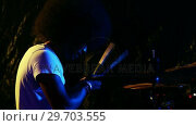 Купить «Drummer playing on drum set 4k», видеоролик № 29703555, снято 7 марта 2017 г. (c) Wavebreak Media / Фотобанк Лори