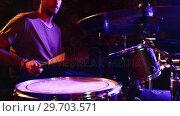 Купить «Drummer playing on drum set 4k», видеоролик № 29703571, снято 7 марта 2017 г. (c) Wavebreak Media / Фотобанк Лори